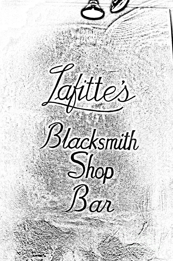 French Quarter Illuminated Lafittes Blacksmith Shop Bar Sign New Orleans Photocopy Digital Art Digital Art