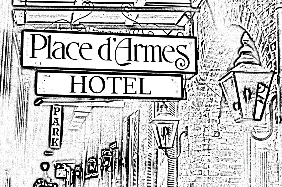 French Quarter Place Darmes Hotel Sign And Gas Lamps New Orleans Photocopy Digital Art Digital Art  - French Quarter Place Darmes Hotel Sign And Gas Lamps New Orleans Photocopy Digital Art Fine Art Print