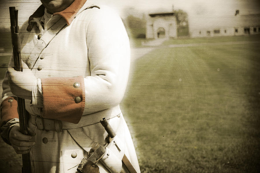 Old Fort Niagara Youngstown New York Soldier French Period Ny Photograph - French Soldier Standing Guard by Keith Allen