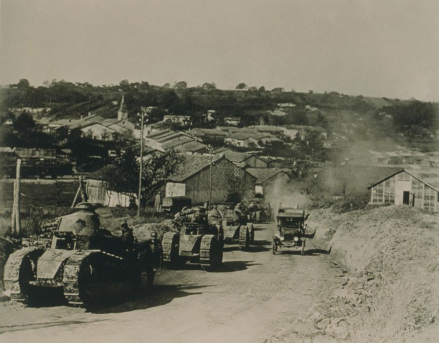 French Tanks Passing Through Rampont Photograph  - French Tanks Passing Through Rampont Fine Art Print