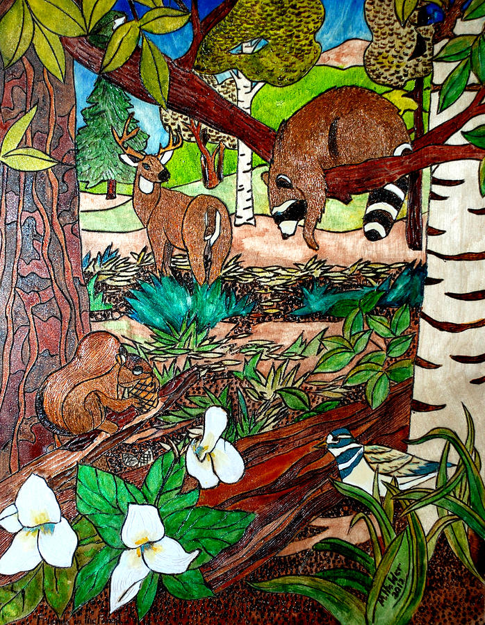 Forest Pyrography - Frends Of The Forest by Mike Holder