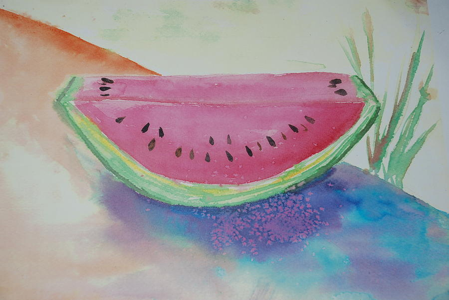 Fresh Watermelon Painting  - Fresh Watermelon Fine Art Print