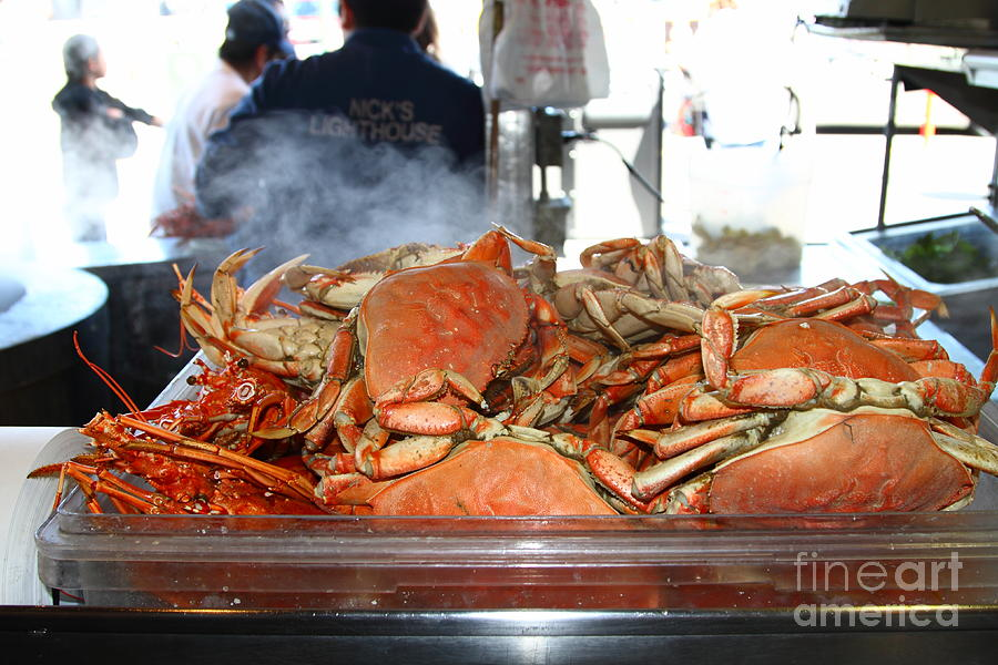 San Francisco Photograph - Freshly Cooked Steaming Hot Dungeness Crabs At Fishermans Wharf . San Francisco California . 7d14461 by Wingsdomain Art and Photography