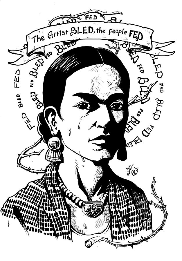 Frida Drawing  - Frida Fine Art Print