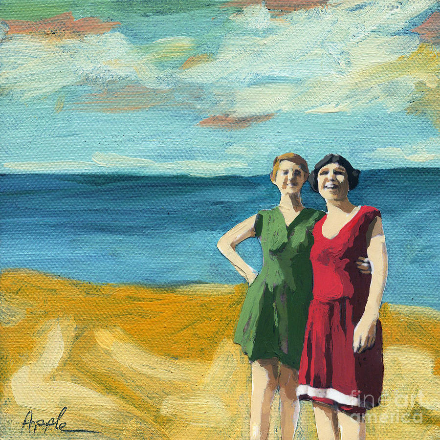 Friends On The Beach Painting  - Friends On The Beach Fine Art Print