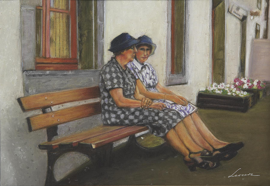 Friends Seated In Bench Pastel  - Friends Seated In Bench Fine Art Print
