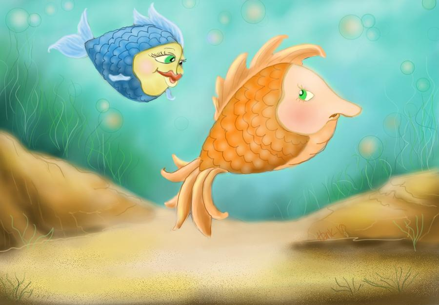 Friendship Fish Drawing  - Friendship Fish Fine Art Print