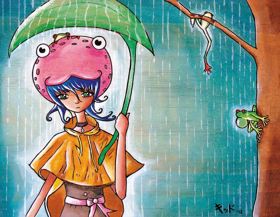 Kawaii Painting - Frog Girl by Jen Kiddo