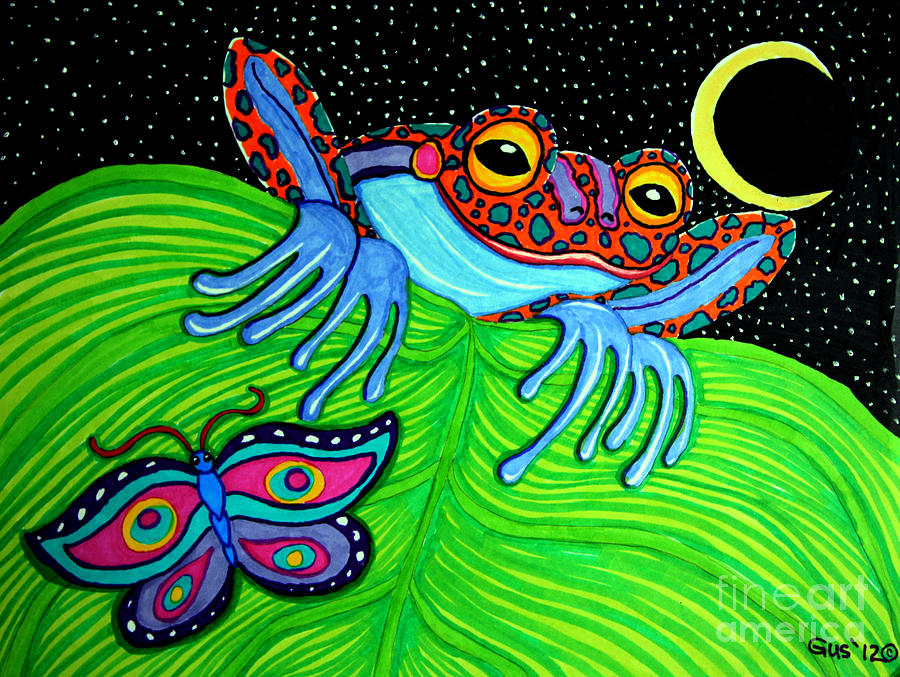 Frog Moon And Butterfly Drawing  - Frog Moon And Butterfly Fine Art Print
