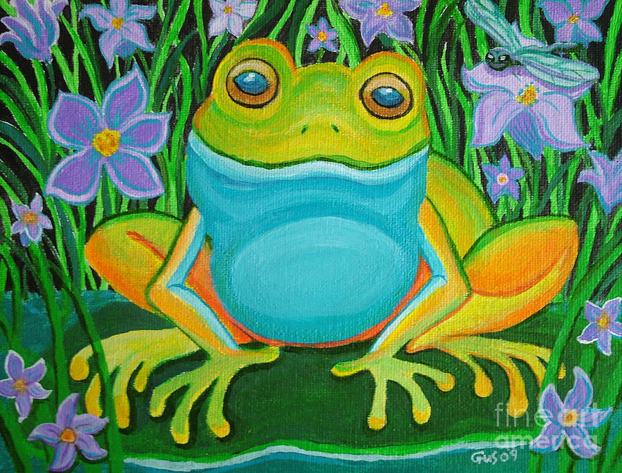 Frog On A Lily Pad Painting  - Frog On A Lily Pad Fine Art Print