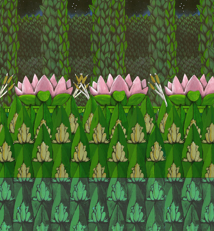 Frog Pond Oscar And The Roses Digital Art