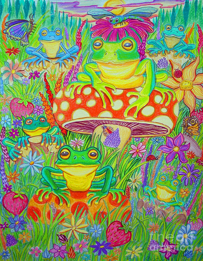 Frogs And Mushrooms Drawing