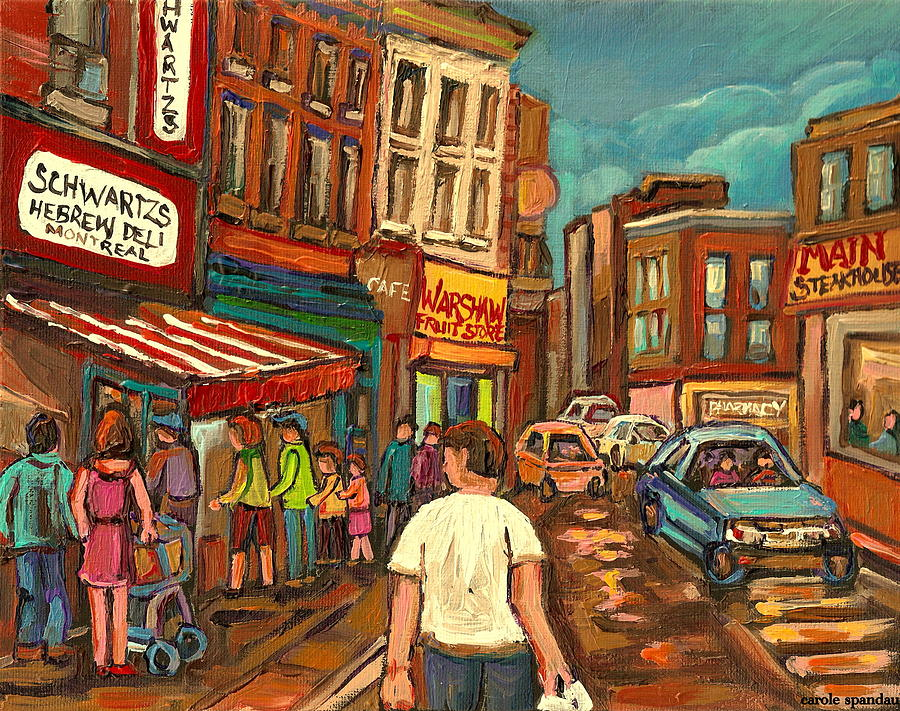 From Schwartzs To Warshaws To The  Main Steakhouse Montreals Famous Landmarks By Carole Spandau  Painting