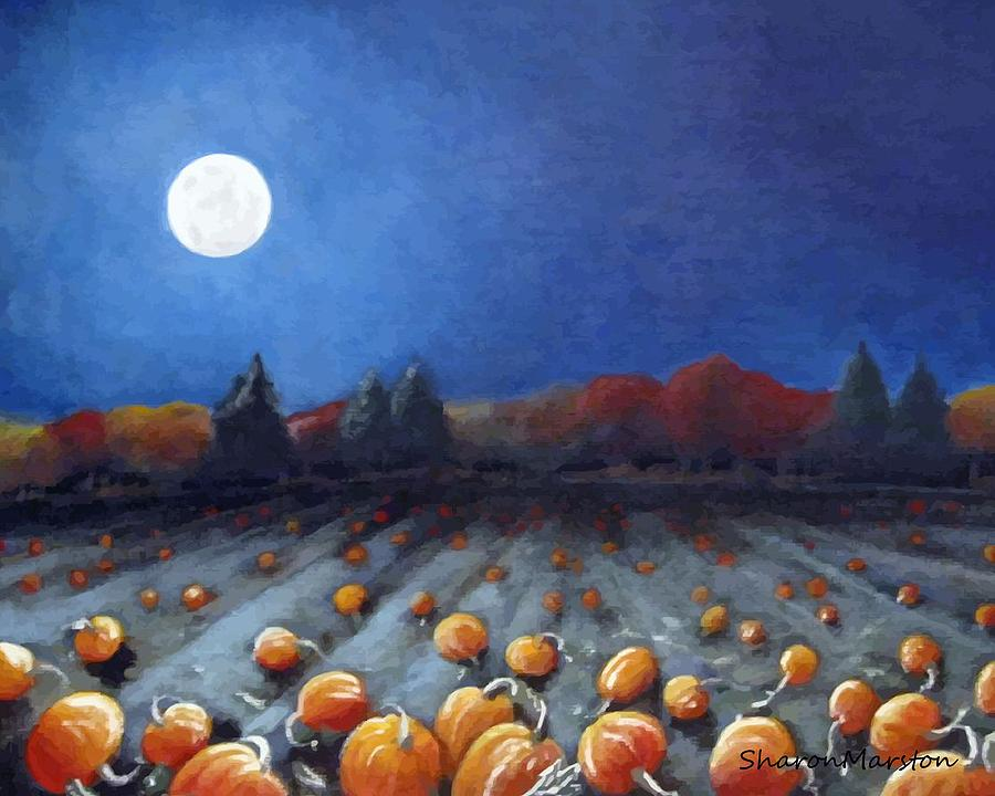 Moon Painting - Frosty Harvest Moon by Sharon Marcella Marston