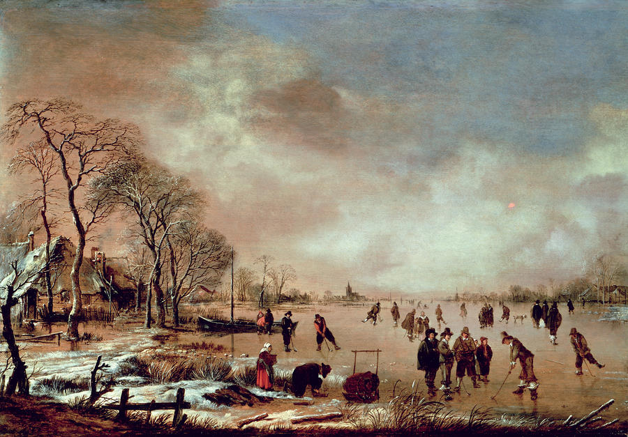 Frozen Canal Scene  Painting