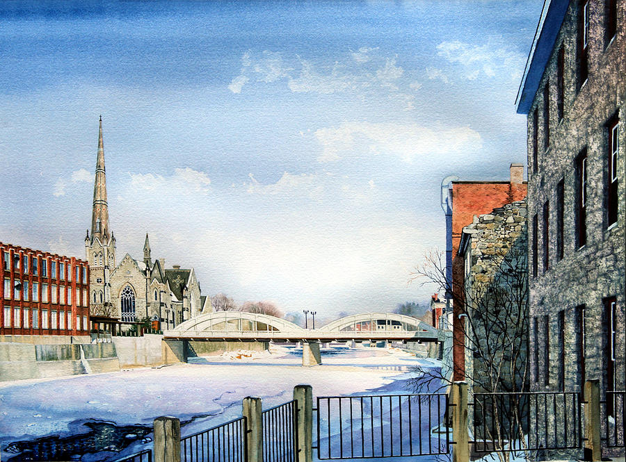 City Portrait From Photo Painting - Frozen Shadows On The Grand by Hanne Lore Koehler