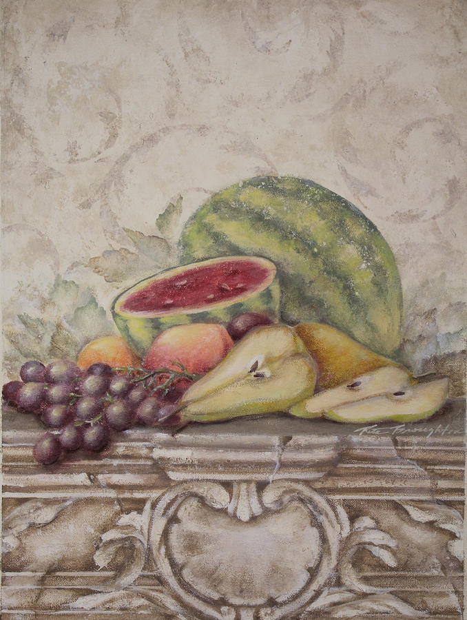 Fruit And Scroll With Watermelon Painting  - Fruit And Scroll With Watermelon Fine Art Print