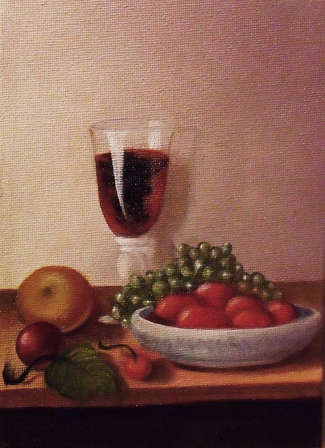 Fruit  And  Wine   A Painting  - Fruit  And  Wine   A Fine Art Print