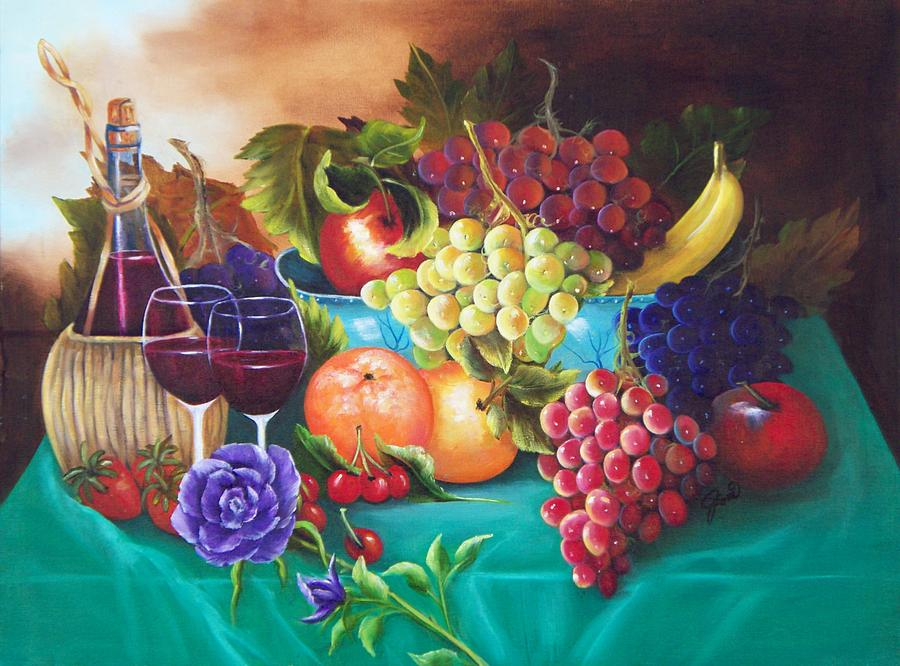 Fruit And Wine On Green Cloth Painting