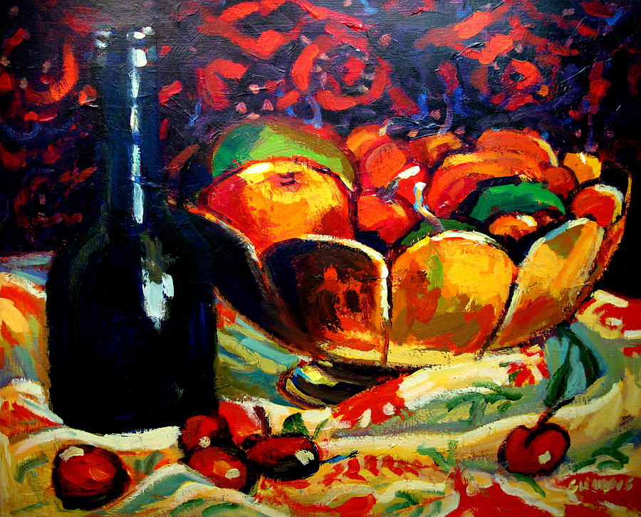 Fruit Bowl And Bottle Painting  - Fruit Bowl And Bottle Fine Art Print