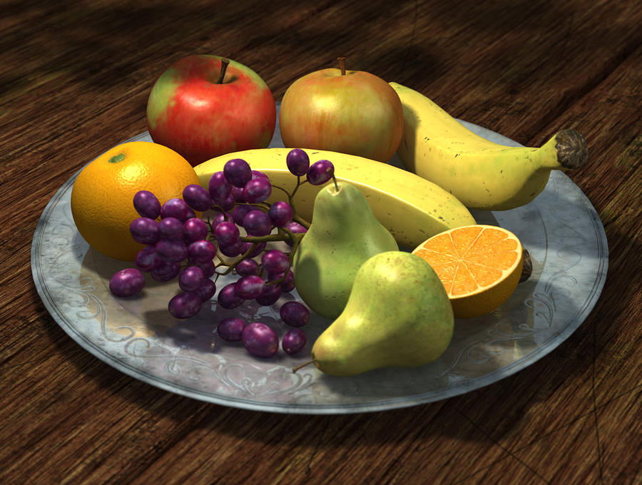 Fruit Bowl Digital Art  - Fruit Bowl Fine Art Print