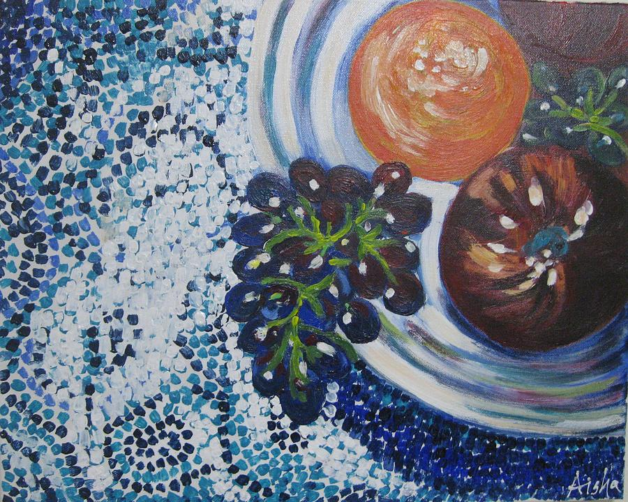 Fruit Bowl On A Mozaic Table Top Painting  - Fruit Bowl On A Mozaic Table Top Fine Art Print
