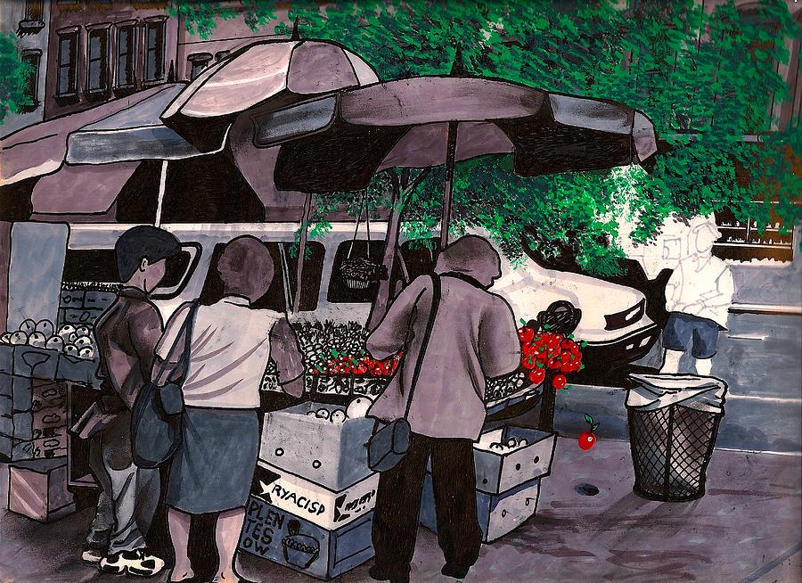 Fruit Vender Brooklyn Nyc Drawing