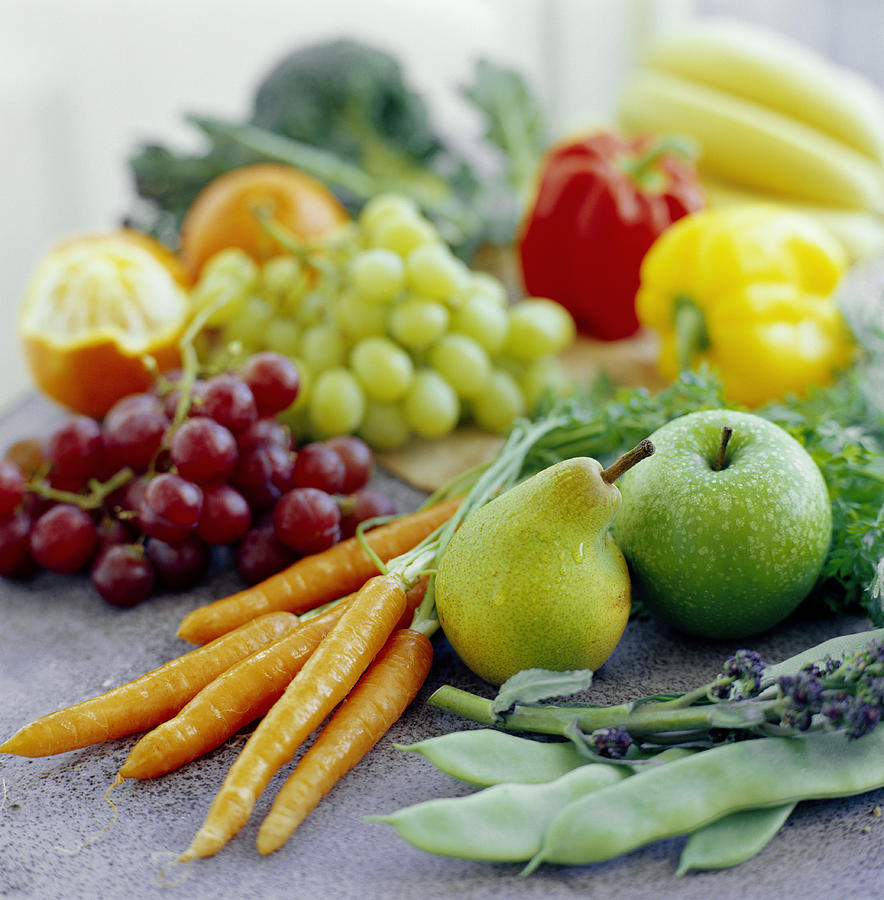 Balanced Diet Photograph - Fruits And Vegetables by David Munns