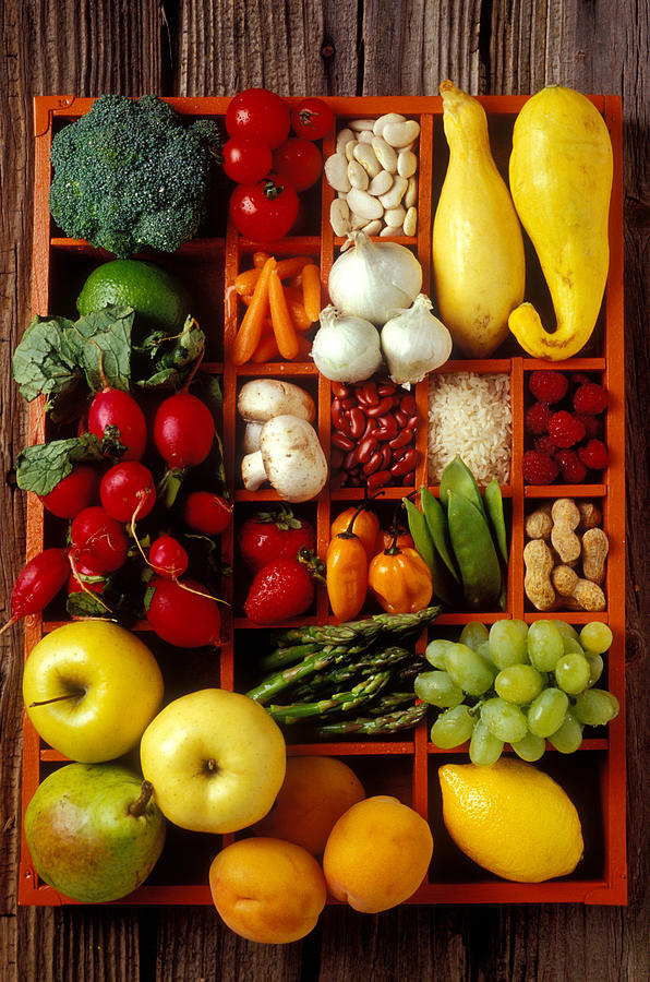 Fruits And Vegetables In Compartments Photograph