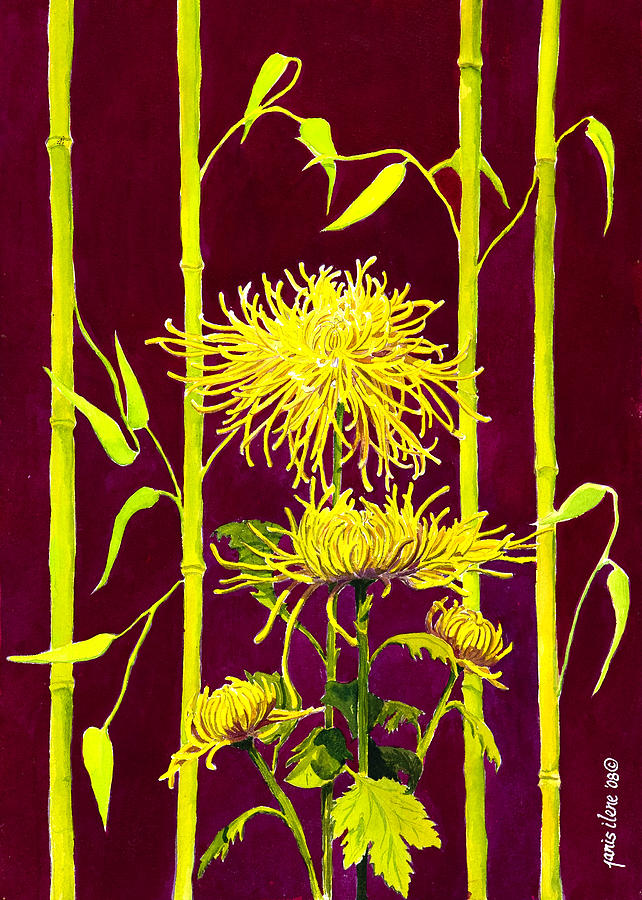 Fuji Mums And Bamboo Painting  - Fuji Mums And Bamboo Fine Art Print