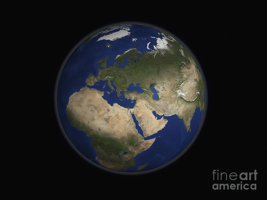 Full Earth View Showing Africa, Europe Photograph  - Full Earth View Showing Africa, Europe Fine Art Print