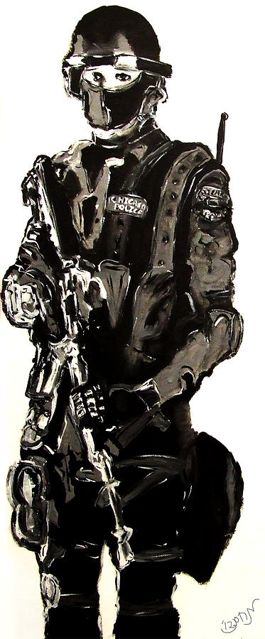 Full Length Figure Portrait Of Swat Team Leader Alpha Chicago Police In Full Uniform With War Gun Painting