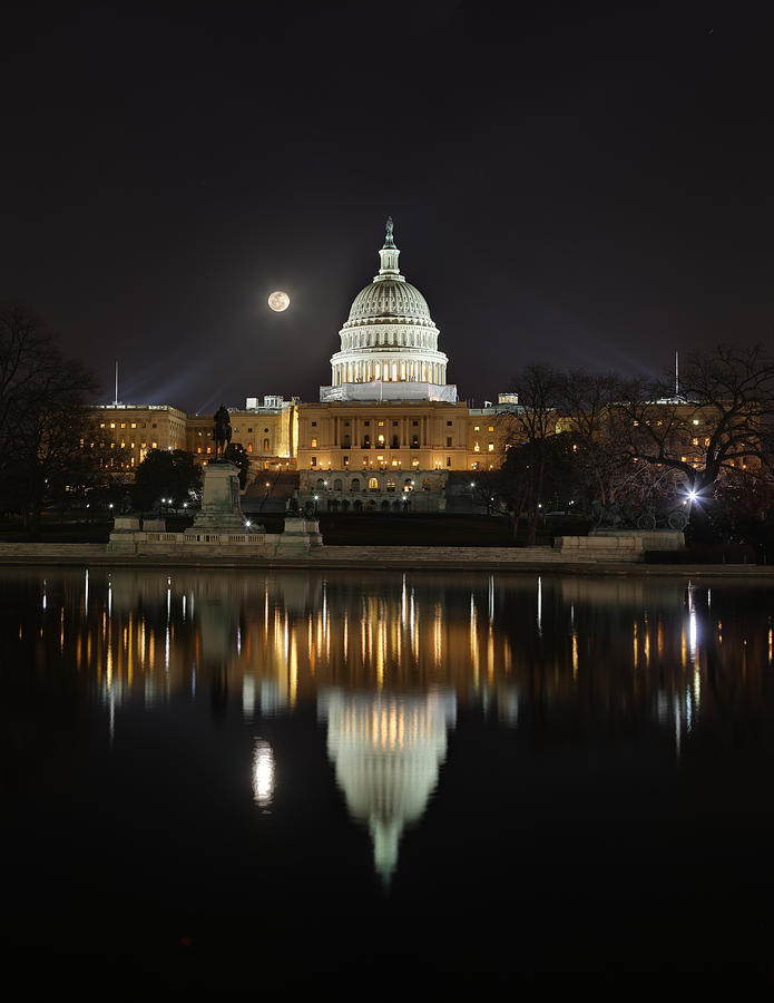 Full Moon At The Us Capitol Photograph
