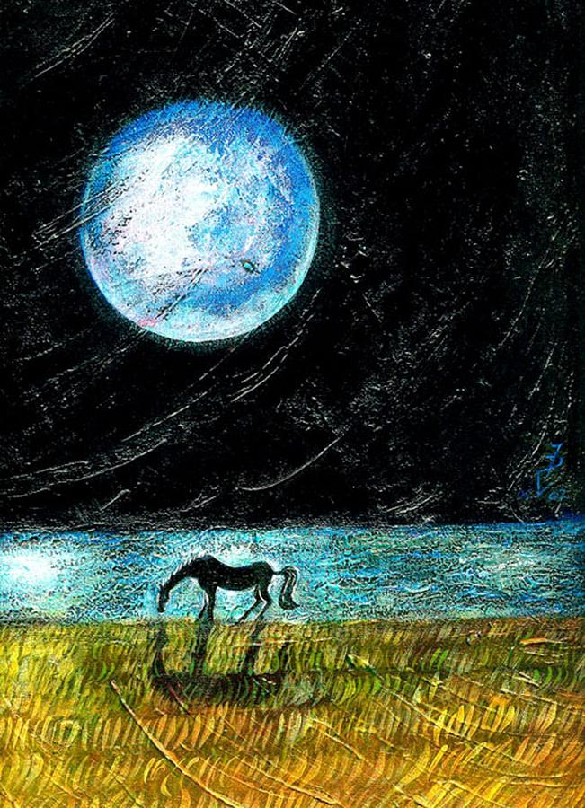 Full Moon On The Seashore Painting  - Full Moon On The Seashore Fine Art Print