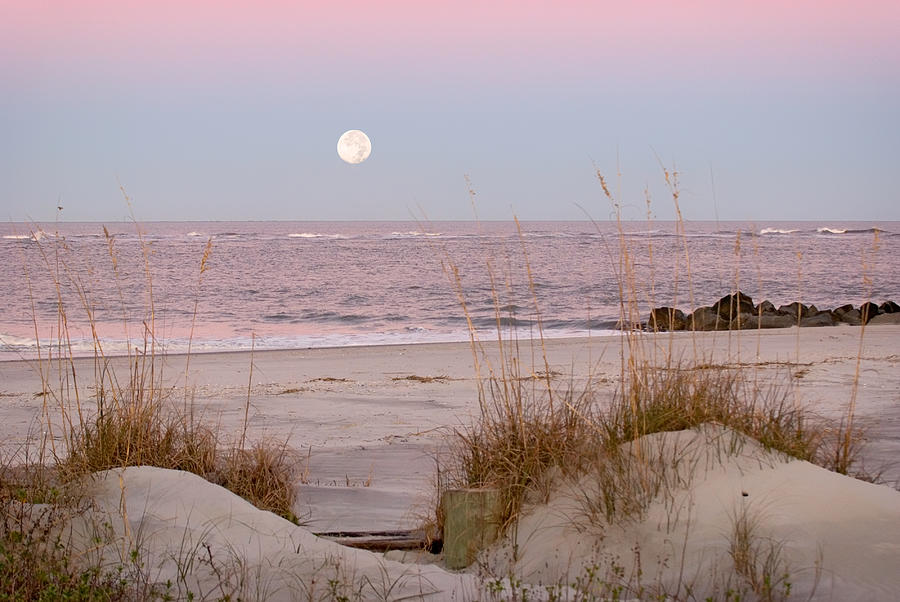 Full Moon Over Folly Beach Photograph  - Full Moon Over Folly Beach Fine Art Print