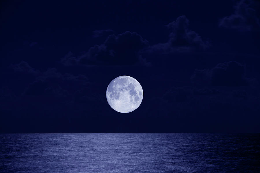 Full Moon Over Ocean, Night Photograph  - Full Moon Over Ocean, Night Fine Art Print