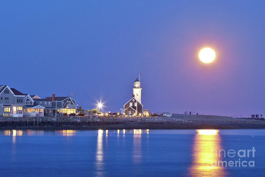 Full Moon Over Scituate Light Photograph