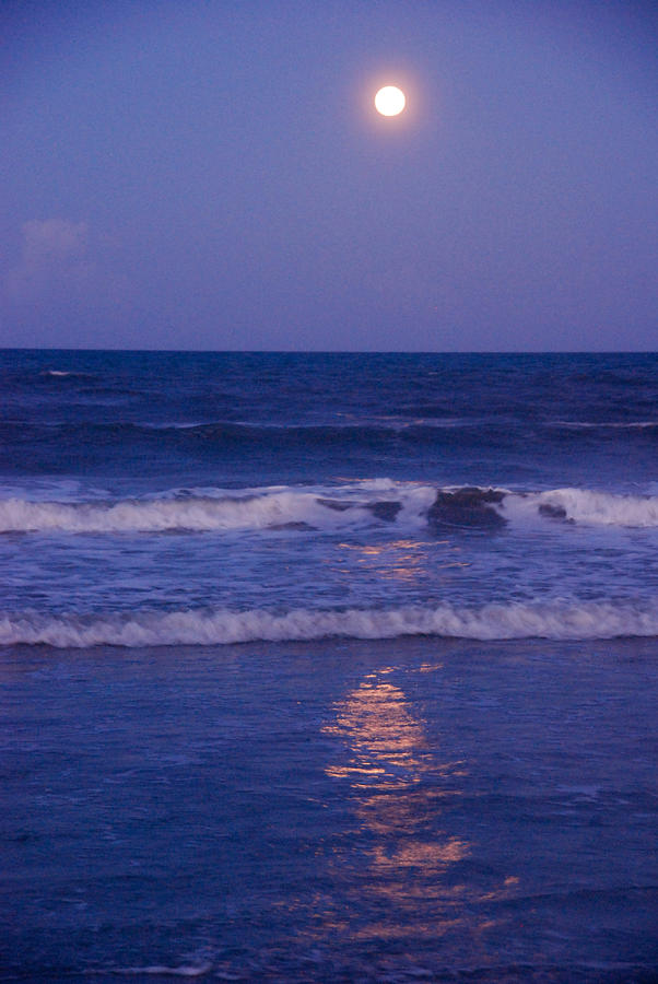 Full Moon Over The Ocean Photograph