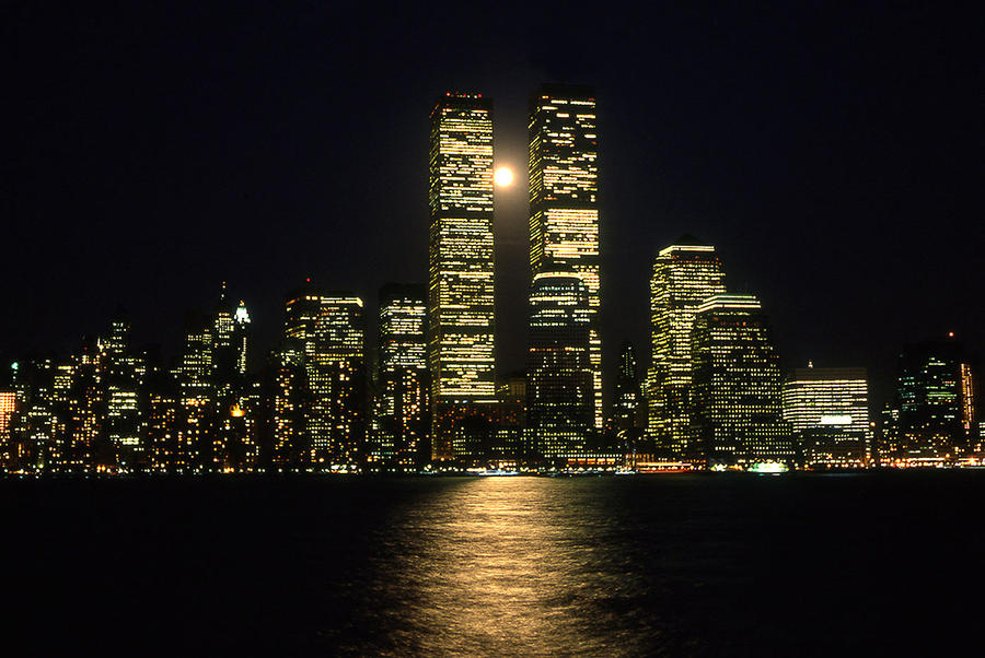 Full Moon Over Twin Towers Photograph