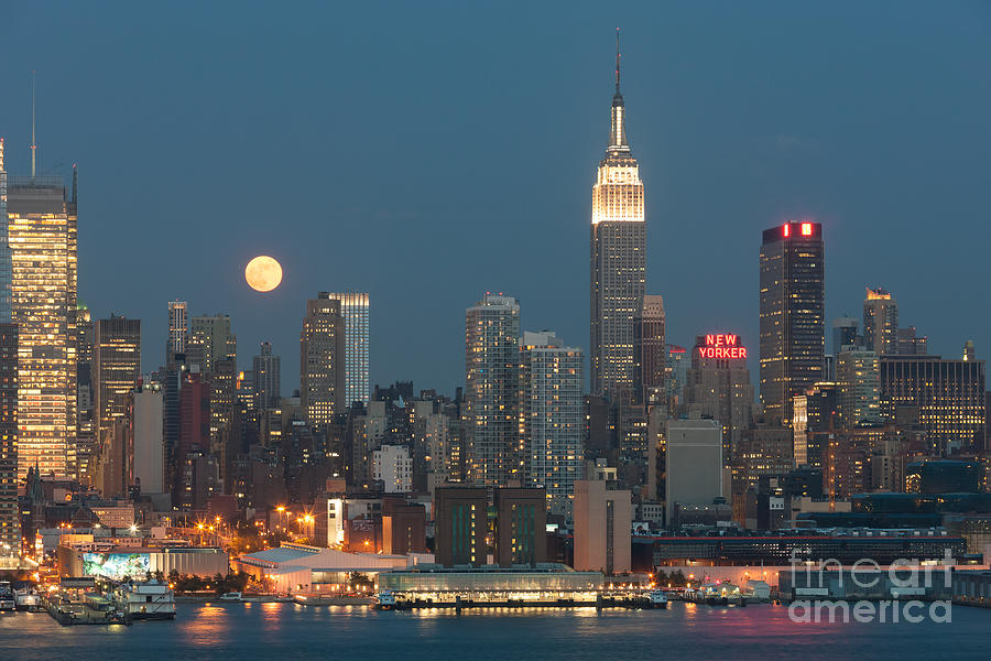 Full Moon Rising Over New York City II Photograph  - Full Moon Rising Over New York City II Fine Art Print