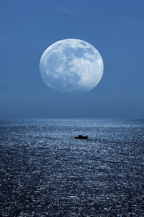 Full Moon Rising Over The Sea Photograph  - Full Moon Rising Over The Sea Fine Art Print