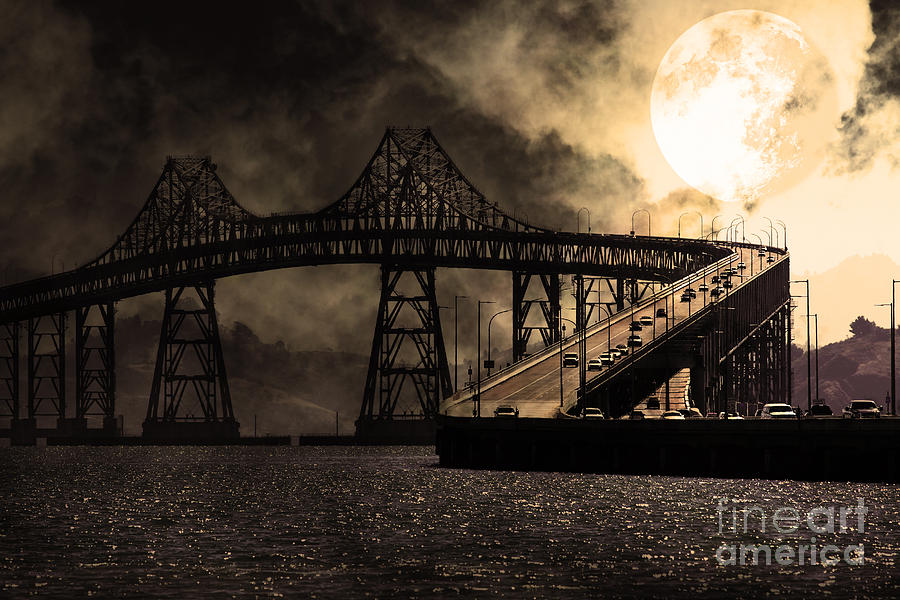 Full Moon Surreal Night At The Bay Area Richmond-san Rafael Bridge - 5d18440 - Sepia Photograph  - Full Moon Surreal Night At The Bay Area Richmond-san Rafael Bridge - 5d18440 - Sepia Fine Art Print