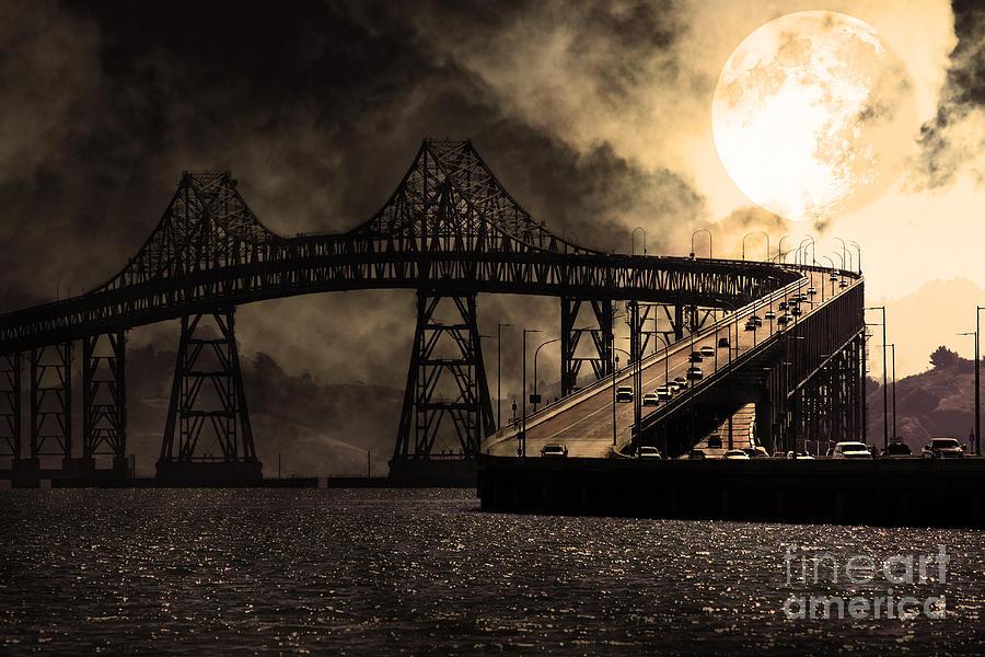 San Francisco Photograph - Full Moon Surreal Night At The Bay Area Richmond-san Rafael Bridge - 5d18440 - Sepia by Wingsdomain Art and Photography