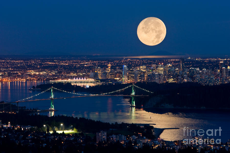 Full Moonrise Over Vancouver 6 Photograph  - Full Moonrise Over Vancouver 6 Fine Art Print