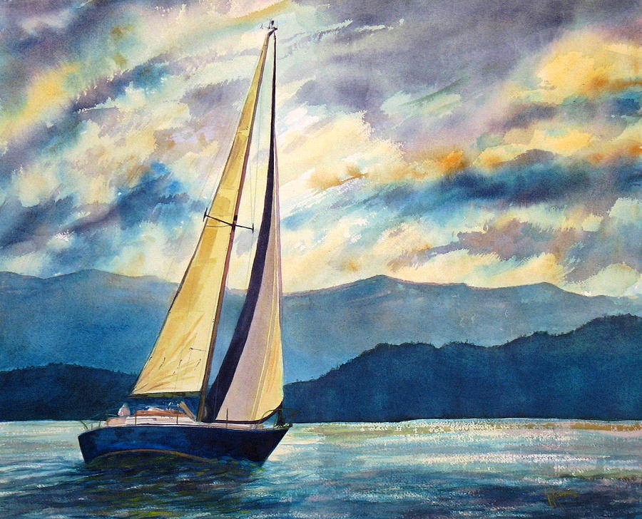 Full Sails And Champagne Skies Painting  - Full Sails And Champagne Skies Fine Art Print