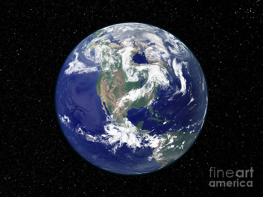 Color Image Photograph - Fully Lit Earth Centered On North by Stocktrek Images