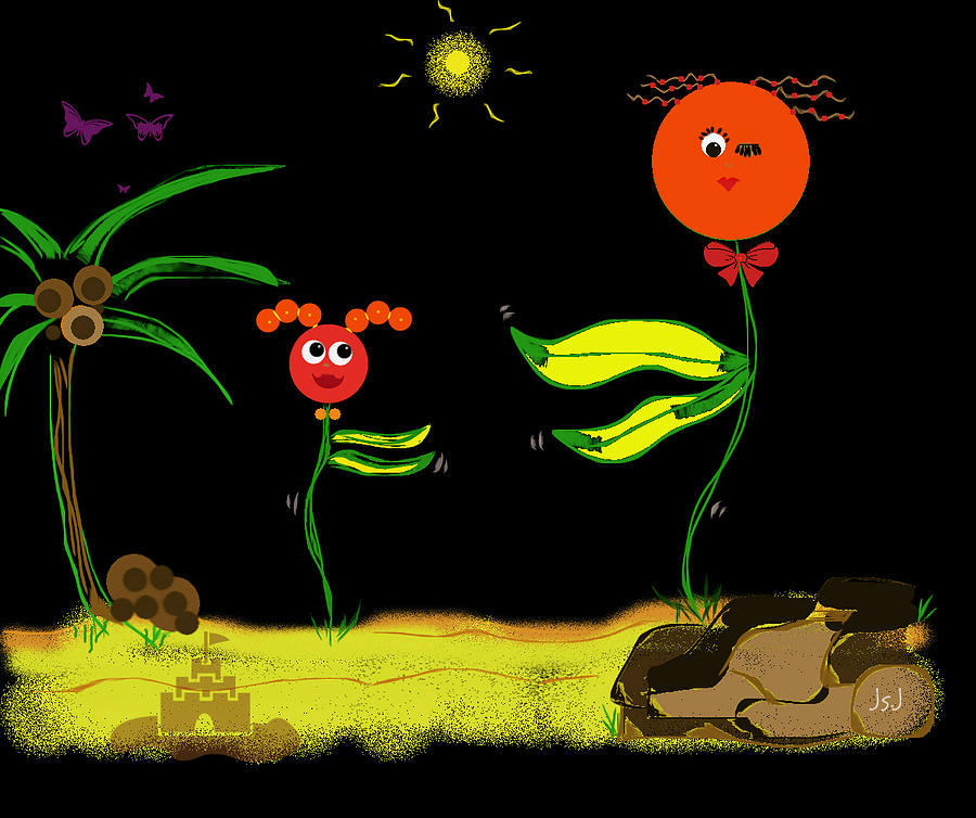 Funky Flowers Dance In The Sun  Digital Art  - Funky Flowers Dance In The Sun  Fine Art Print