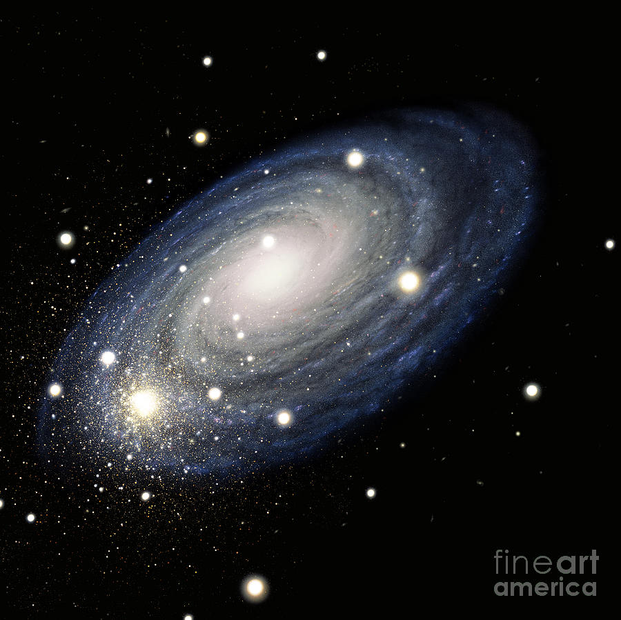 Science Drawing - Galaxy by Atlas Photo Bank and Photo Researchers