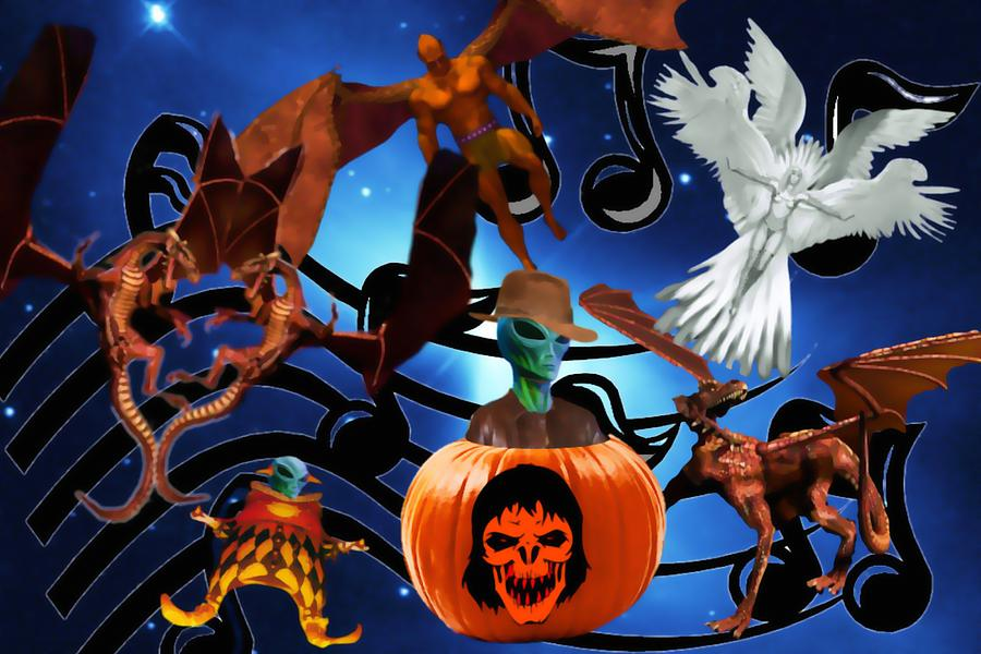 Galaxy Halloween Party Digital Art  - Galaxy Halloween Party Fine Art Print