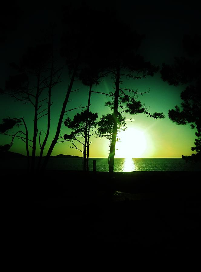Galician Green Sunset Digital Art  - Galician Green Sunset Fine Art Print